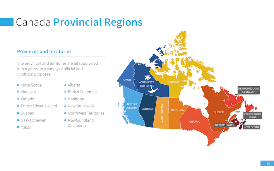 Map Of Canada Template.Canada Map For Keynote Improve Presentation