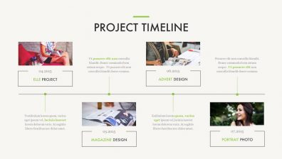Portfolio powerpoint template improve presentation project timeline slide 4 photos on a timeline with text portfolio powerpoint template maxwellsz
